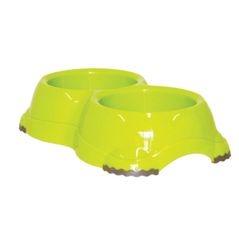 Moderna Double Smarty Dog Bowl Fun Green - No Skid - 2 x 2.7 Cups Capacity