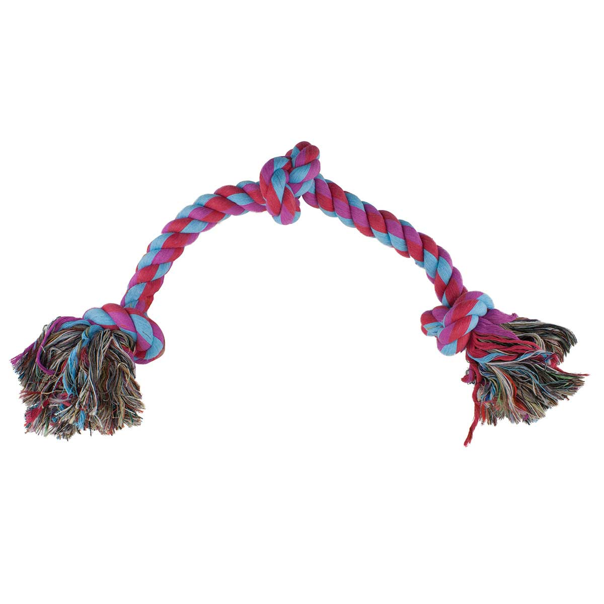 Assorted Colors - Mammoth Medium 3 Knot Colored Rope Tug Toy for Dogs