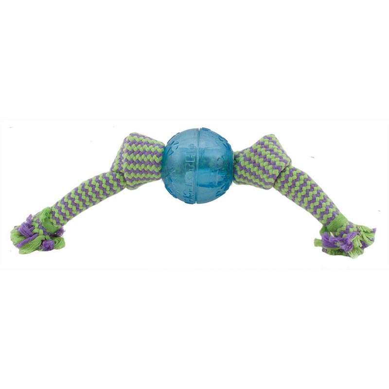 Large 12 inch Mammoth Flossy Chews Candy Wraps With Squeaky 3 inch Ball Inside for Dogs