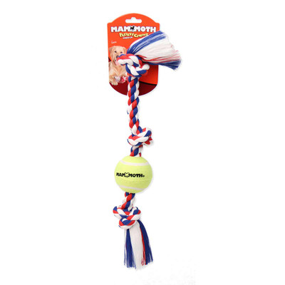 Mammoth Pet 3 Knot Tug with Tennis Ball 20 in Dog Toy