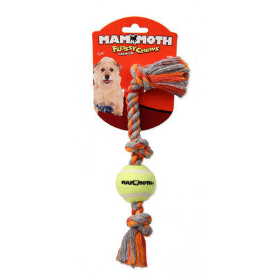 Mammoth Pet 3 Knot Tug with Mini Tennis Ball 11 in Dog Toy