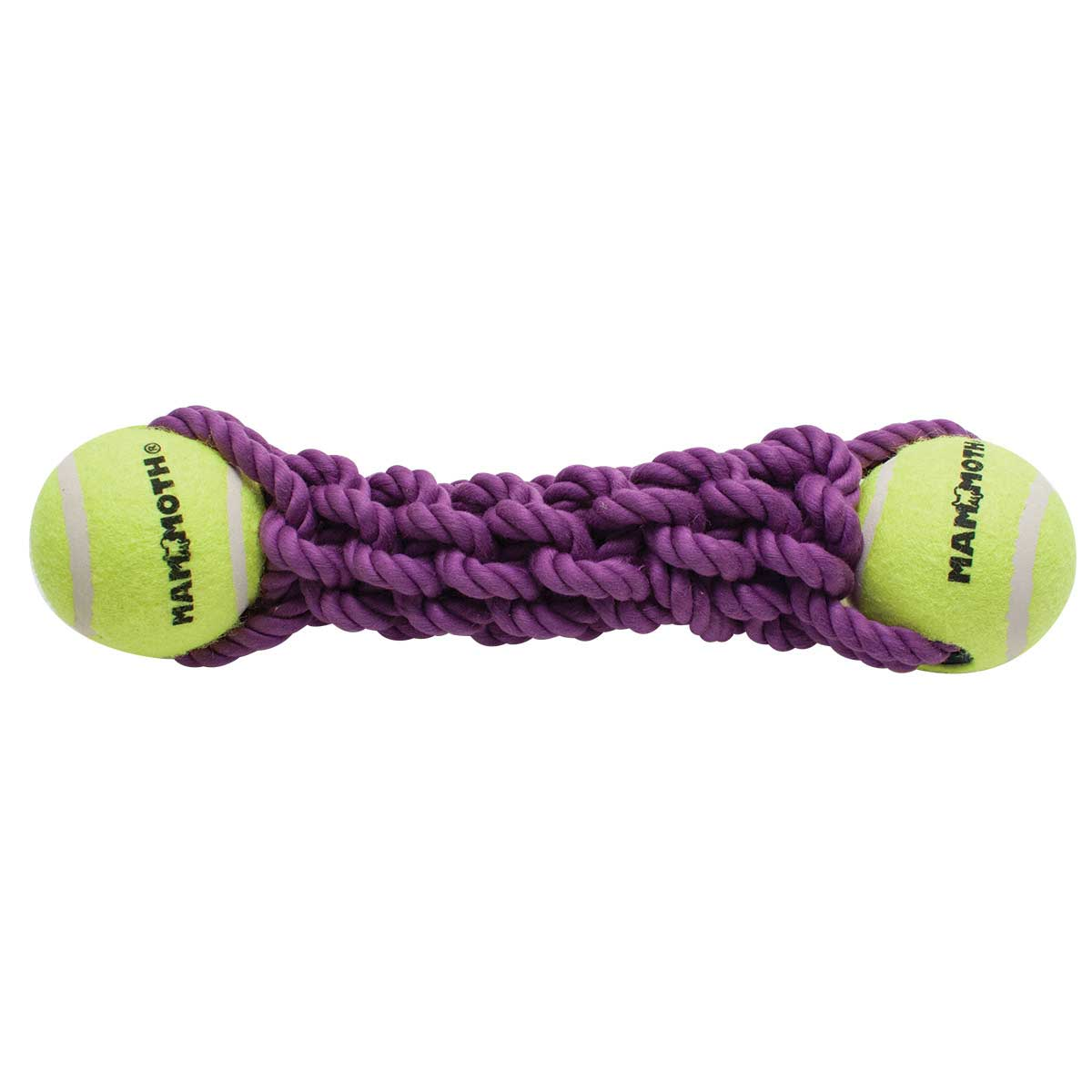 Mammoth Large 13 inch Braided Bone with 2 Tennis Balls - Fetch Toy for Dogs