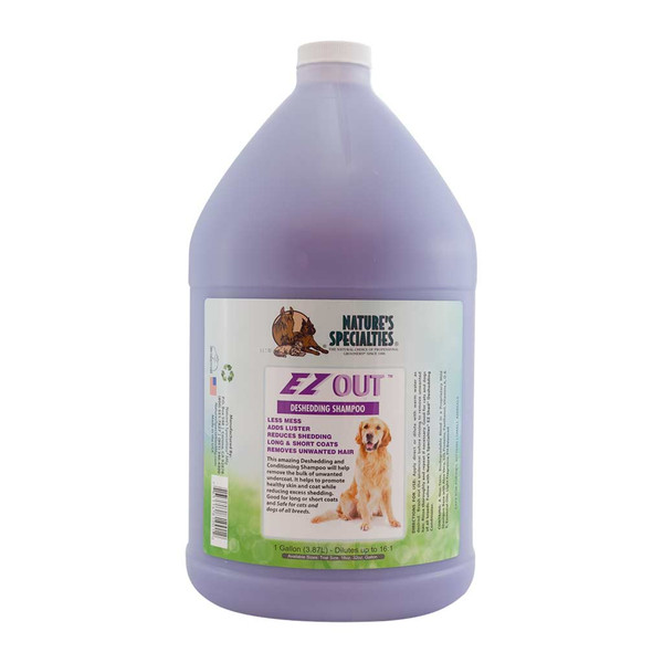 Gallon of Natures Specialties EZ OUT Deshedding Shampoo for Dogs