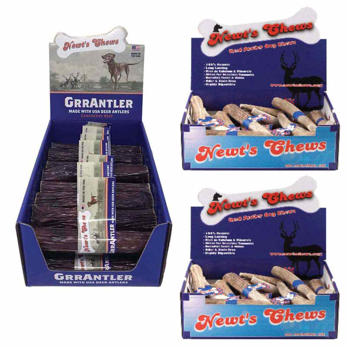 Newt's Chews Large Premium Elk Antler Dog Treat Bundle