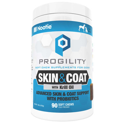 Progility Skin and Coat Supplements for Dogs 90 Count from Nootie