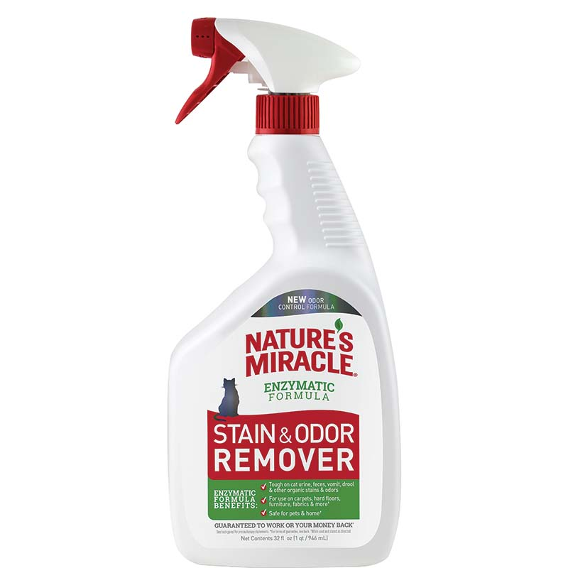 Nature's Miracle Stain and Odor Remover Spray 32 oz - Cat at Ryan's Pet Supplies
