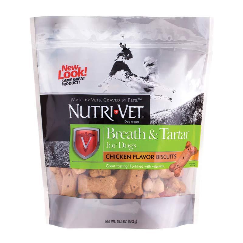 Nutri-Vet Breath & Tartar Biscuits for Dogs - Chicken Flavor 19.5 oz