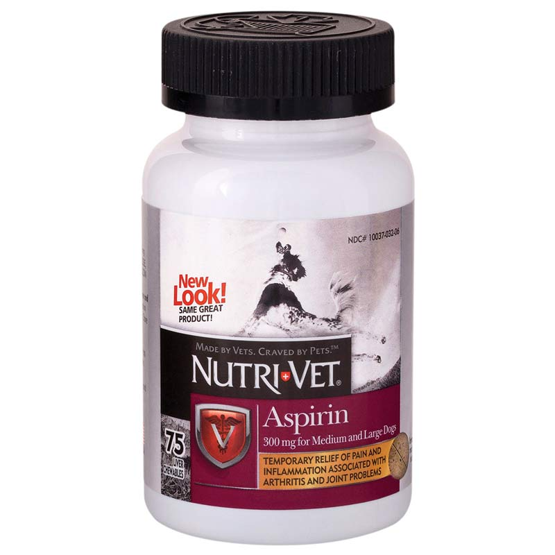 Nutri-Vet Pet Aspirin For Large Dogs 75 Count (300 mg)