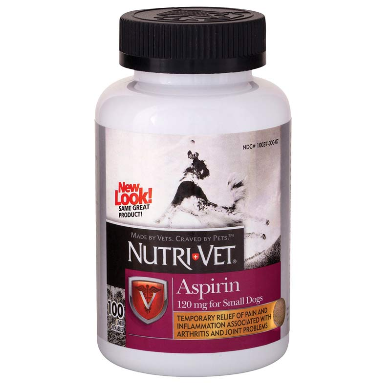 100 Count Nutri-Vet Pet Aspirin For Small and Medium Dogs - 120 mg