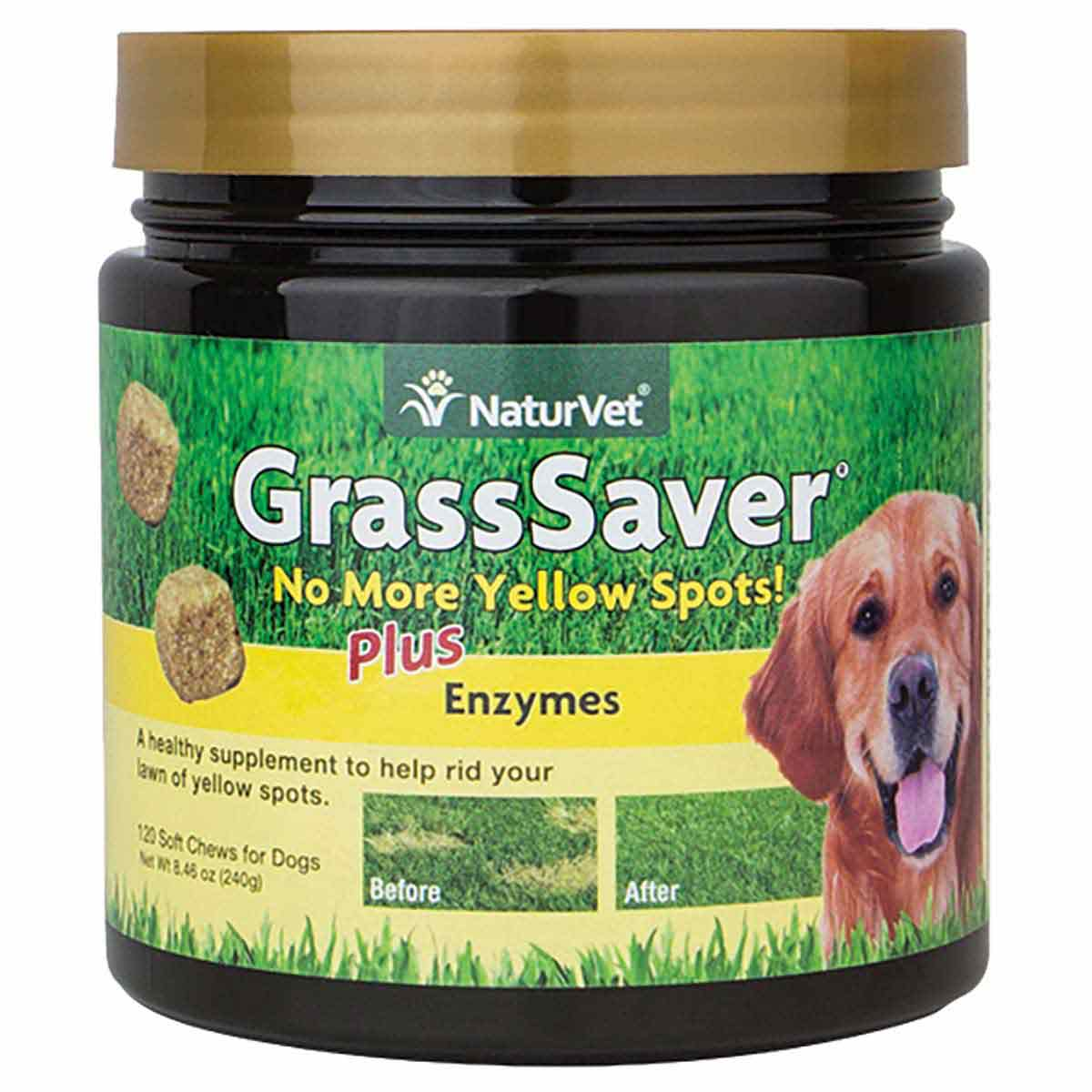 NaturVet GrassSaver Plus Enzymes Soft Chew Jar 120 Count