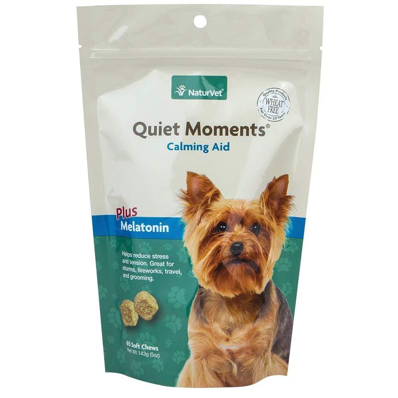 NaturVet Quiet Moments Calming Aid Plus Melatonin Soft Chews 65 Count