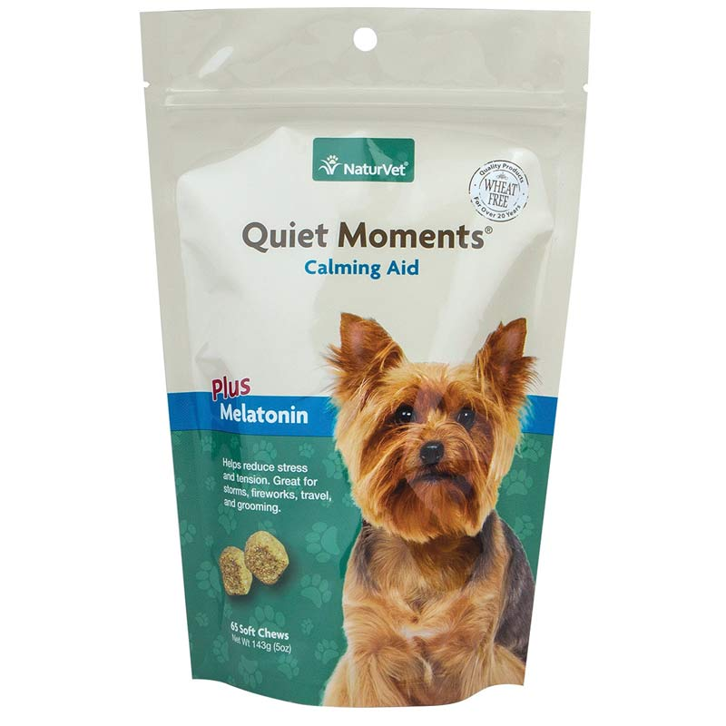 NaturVet Quiet Moments Calming Aid Plus Melatonin Soft Chews 65 Count