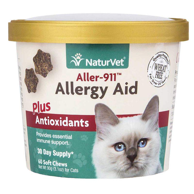 NaturVet Aller-911 Allergy Aid Plus Antioxidants for Cats - 60 Soft Chew