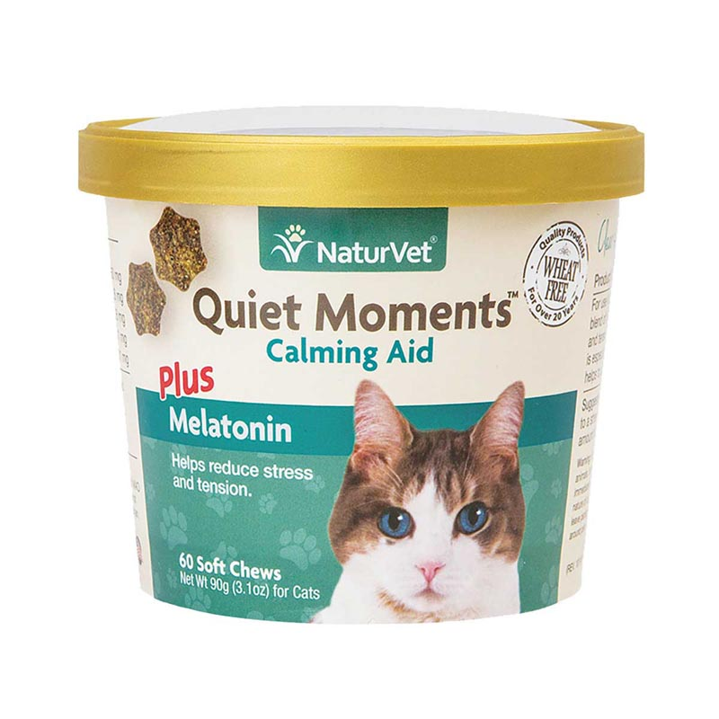 NaturVet Quiet Moments Plus Melatonin Cat Soft Chews 60 Count