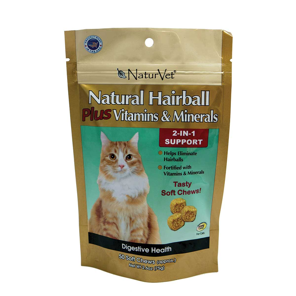NaturVet Natural Hairball Plus Vitamins & Minerals Soft Chews for Cats - 50 Count