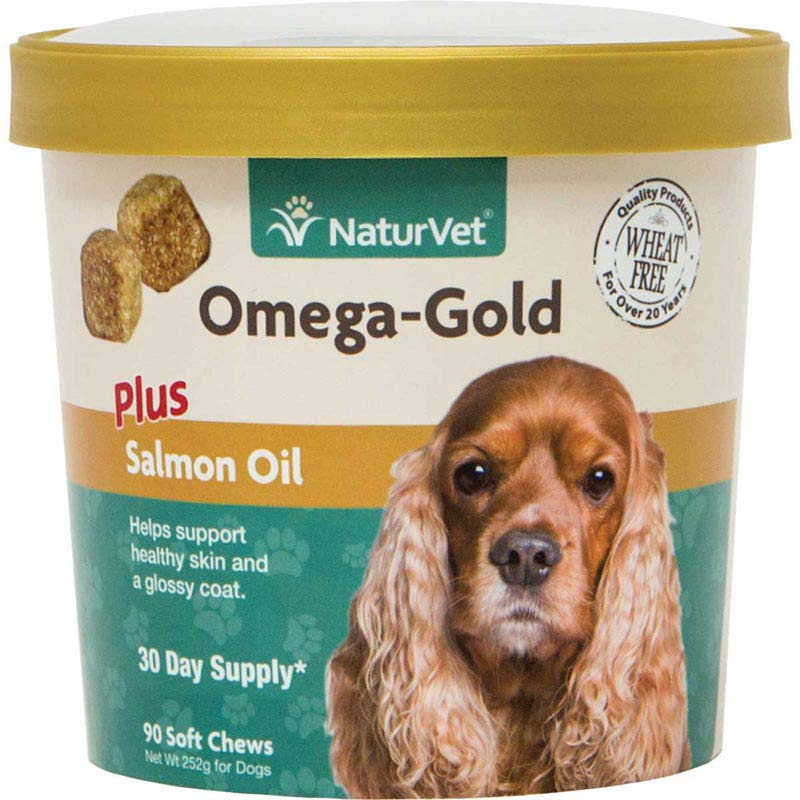 NaturVet Omega-Gold Plus Salmon Oil Soft Chews - Supports Healthy Skin and Glossy Coat - 90 Count