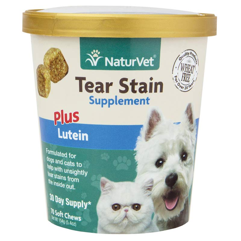 NaturVet Tear Stain Plus Lutein Soft Chews for Dogs - 70 Count