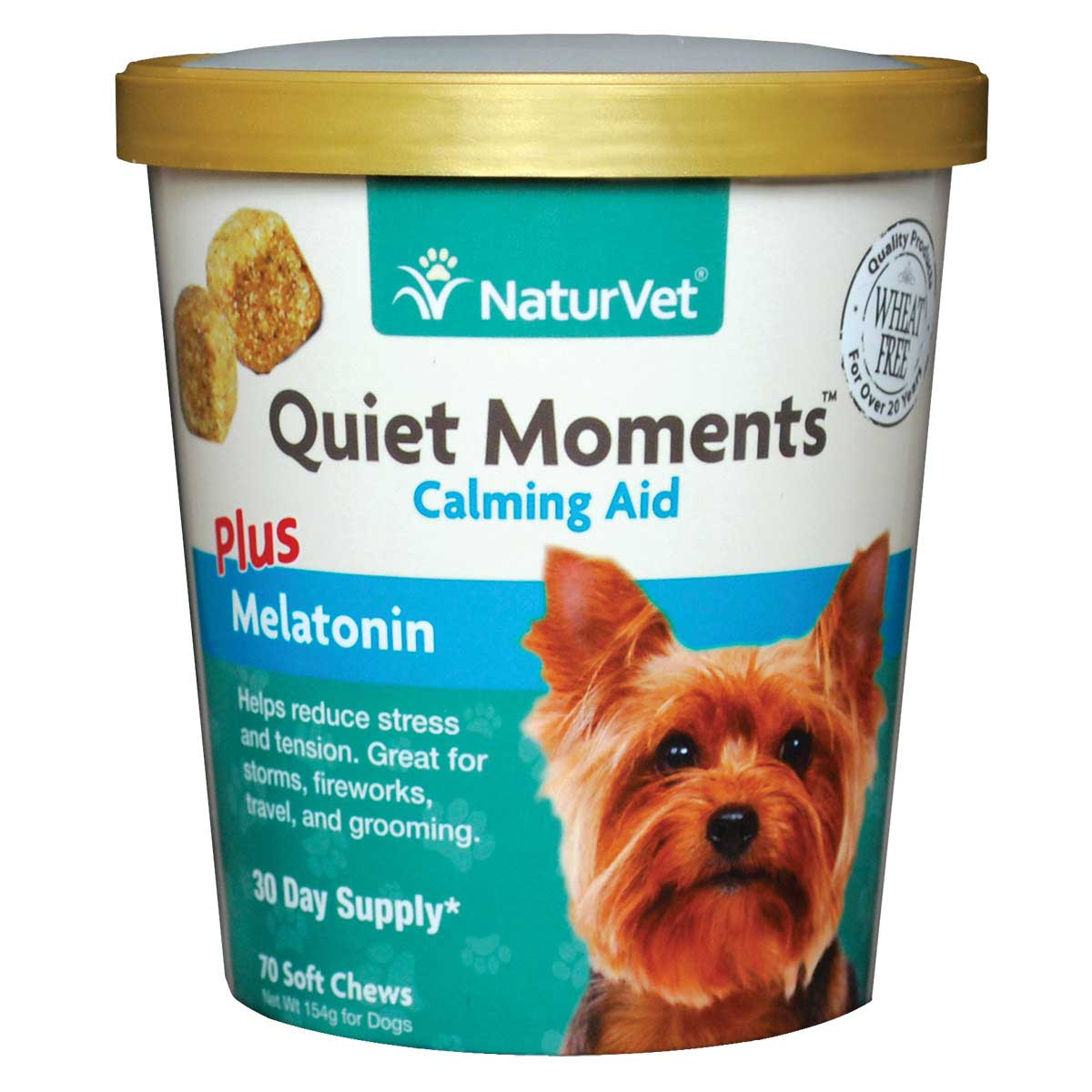 NaturVet Quiet Moments Calming Aid Plus Melatonin Soft Chew for Dogs - 70 Count
