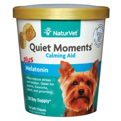 NaturVet Quiet Moments Calming Aid Plus Melatonin Soft Chew for Dogs - 70 Count