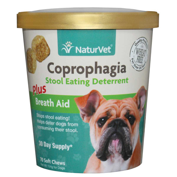 NaturVet Coprophagia Stool Eating Deterrent Plus Breath Aid Soft Chews for Dogs 70 Count
