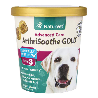NaturVet Advanced Care Arthrisoothe -Gold Level 3 Soft Chews for Dogs with Arthritis - 70 Count