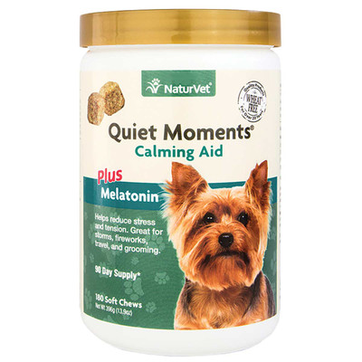 NaturVet Quiet Moments Plus Melatonin Calming Aid Soft Chews for Dogs - 180 Count