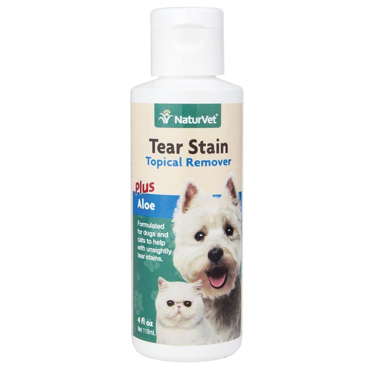 NaturVet Tear Stain Remover for Dogs - Topical Formula with Aloe 4 oz