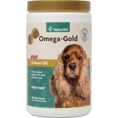 NaturVet Omega-Gold Plus Salmon Oil Soft Chews for Dogs - Supports Healthy Coat and Skin 180 Count