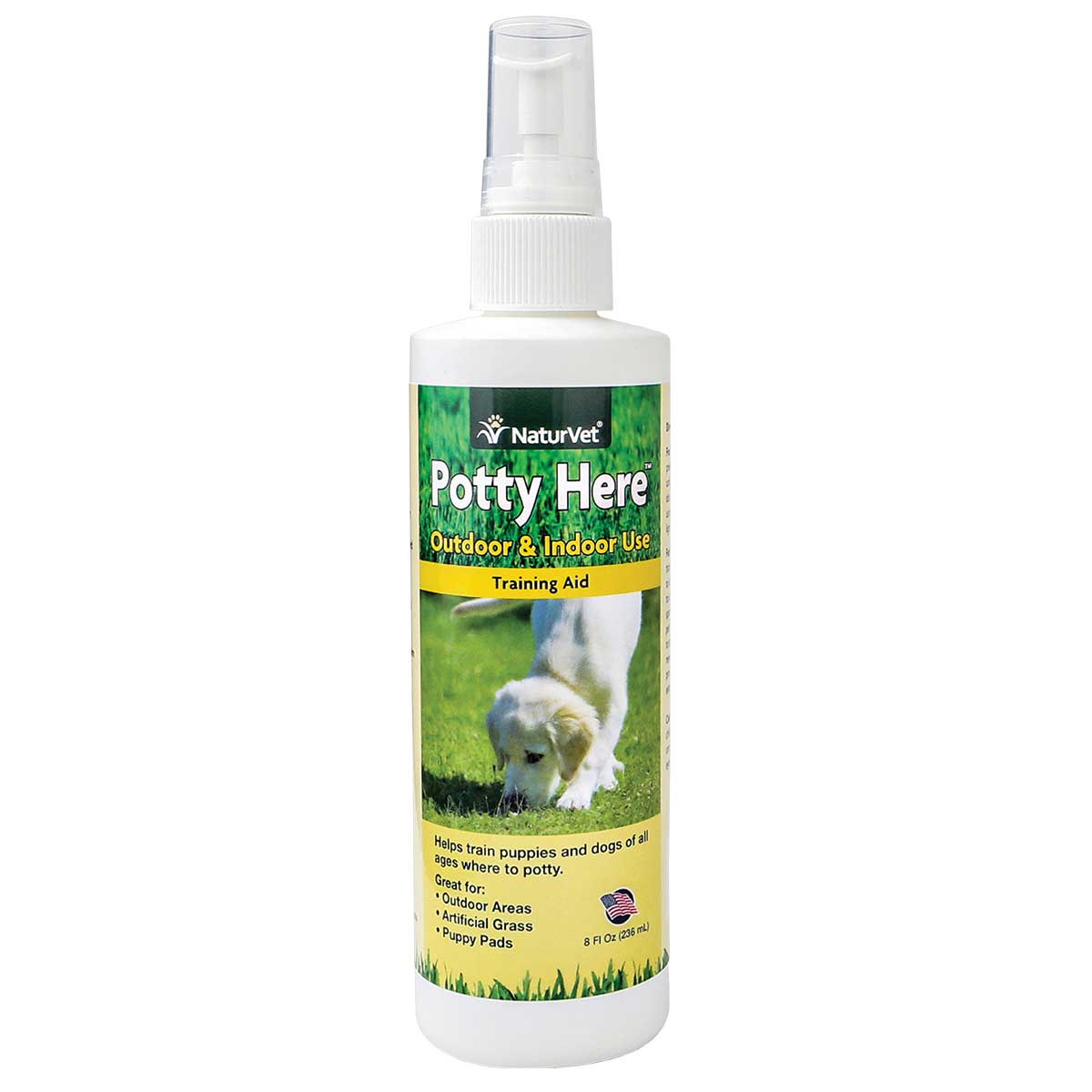 NaturVet Potty Here Training Aid Spray for Dogs - Outdoor and Indoor use 8 oz