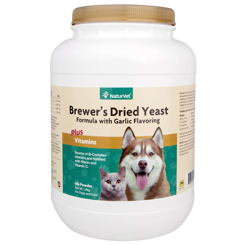 NaturVet Brewer's Yeast Powder With Garlic Flavoring for Dogs and Cats - 4 Lbs