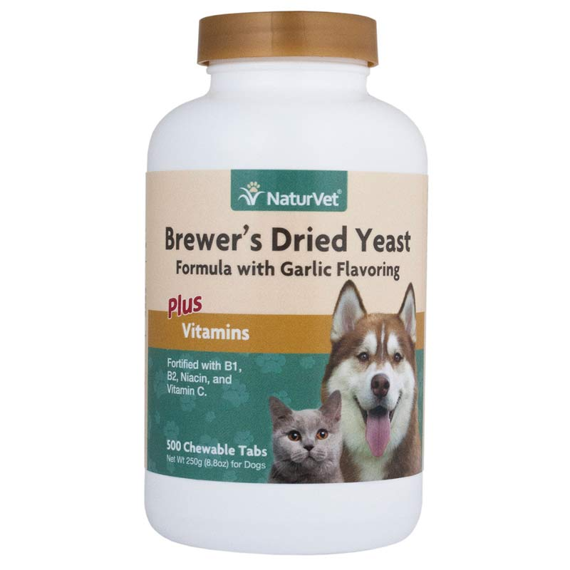 NaturVet Brewer's Dried Yeast With Garlic Flavoring for Dogs Plus Vitamins - 500 Tablets