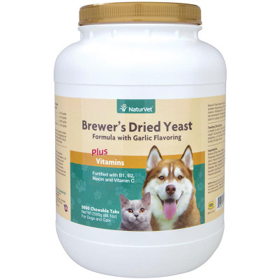 NaturVet Brewer's Yeast With Garlic for Cats and Dogs - 5000 Chewable Tablets