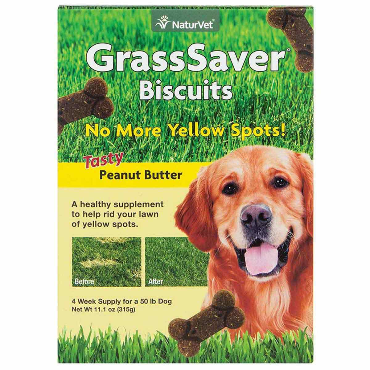 NaturVet GrassSaver Biscuits for Dogs - Peanut Butter Flavor 11.1 oz