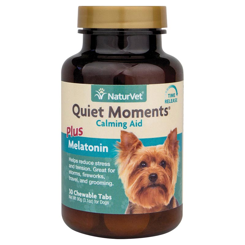 NaturVet Quiet Moments Time Release Calming Aid for Dogs plus Melatonin - 30 Tablets