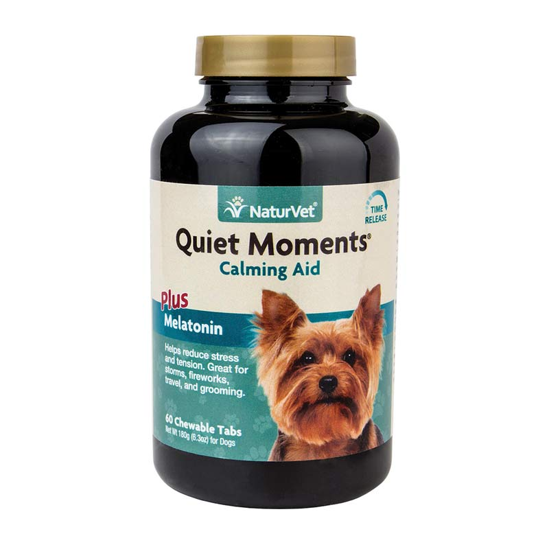 NaturVet Quiet Moments Time Release 60 Tablets for Dogs - Calming Aid Plus Melatonin