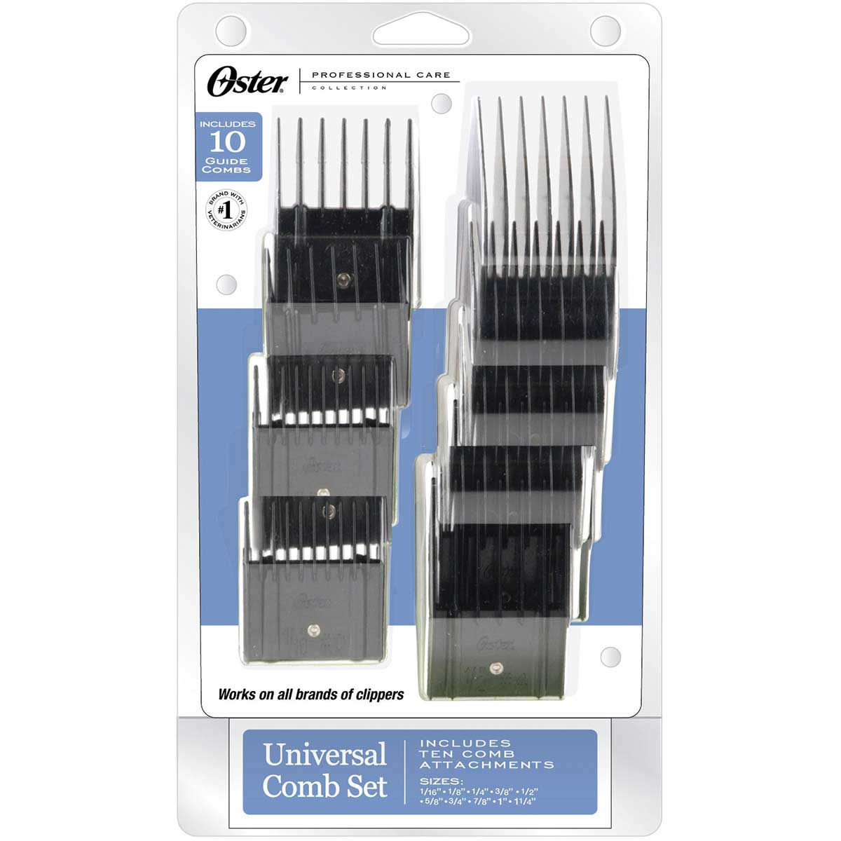 Oster Universal Comb Attachments - Set Of 10 Combs with Storage Pouch