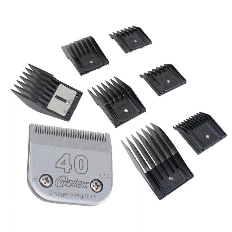 Oster Universal Plastic Snap-On Comb Set - Includes 7 Combs with 40 CryogenX Blade