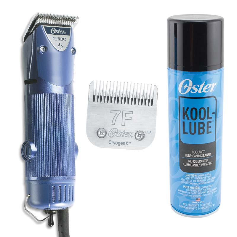 Oster A5 Turbo 2 Speed Clipper Bundle includes 7F Blade and Kool Lube