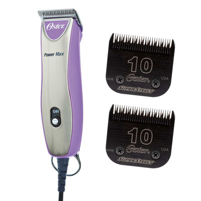 Purple Oster Powermax 2-Speed Clipper Bundle includes an additional #10 Blade