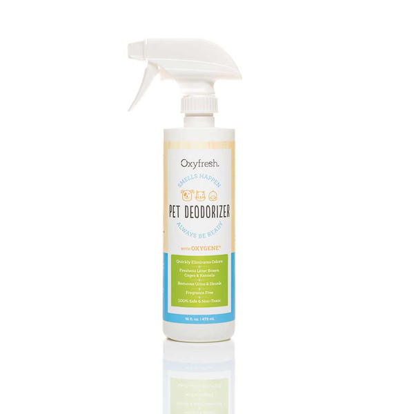Oxyfresh Pet Deodorizer 16 oz helps keep kennels, cages and litter boxes smelling fresh