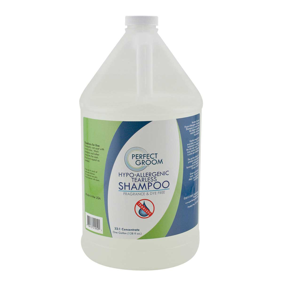 Perfect Groom Hypo-Allergenic Tearless Pet Shampoo Gallon for Professional Groomers