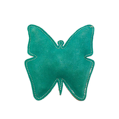 Dawgee Play Flat Suede Crackle Paper Mint Butterfly Dog Toy