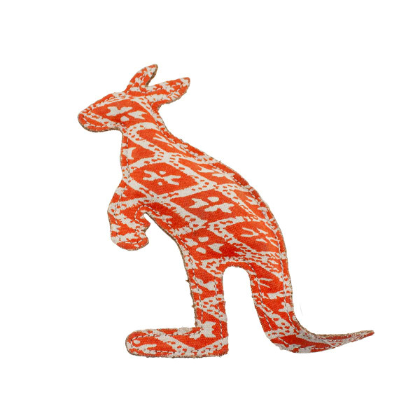 Coral Kangaroo 8 inch dog toy Dawgee Play Printed Canvas