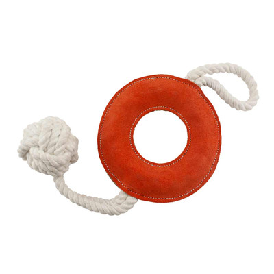 Dawgee Play Suede Leather Donut Rope Handle & Ball 18 inch Dog Toy