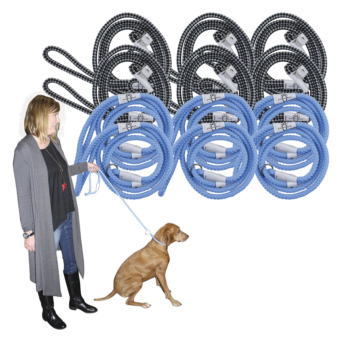 Paw Brothers 12 Rope Lead Kit Includes 6 Light Blue & 6 Black and Grey
