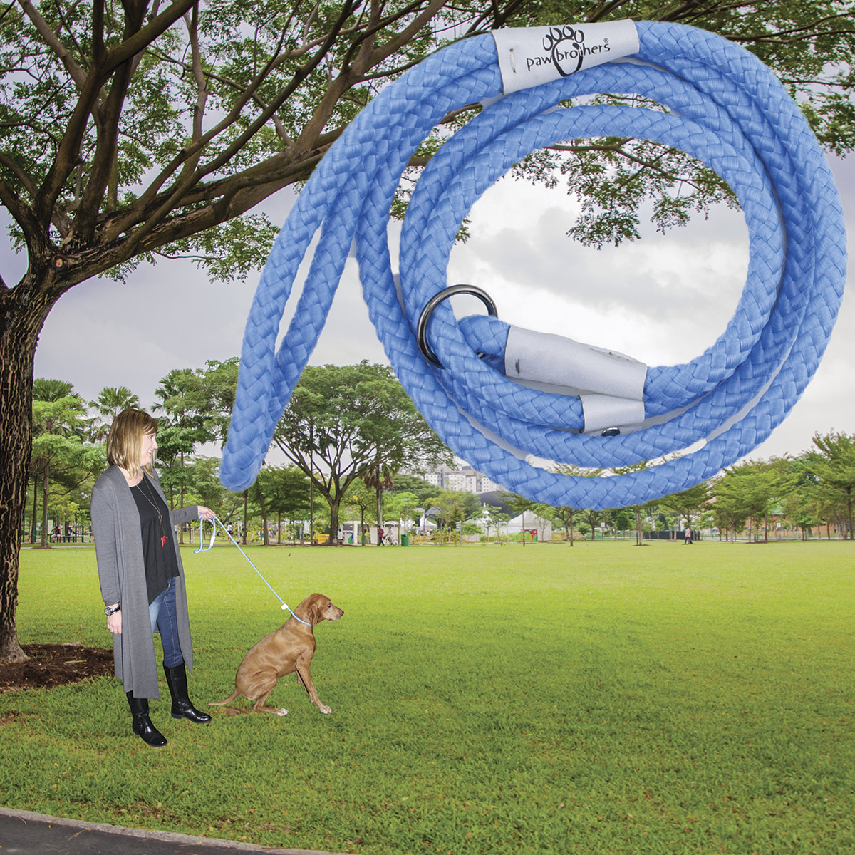 Paw Brothers Light Blue 6 foot Rope Slip Lead with Safety Stop