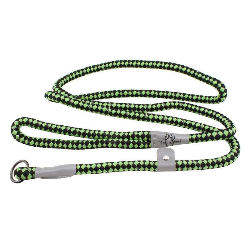 Paw Brothers 6 foot Reflective Rope Slip Lead - Lime Green & Black