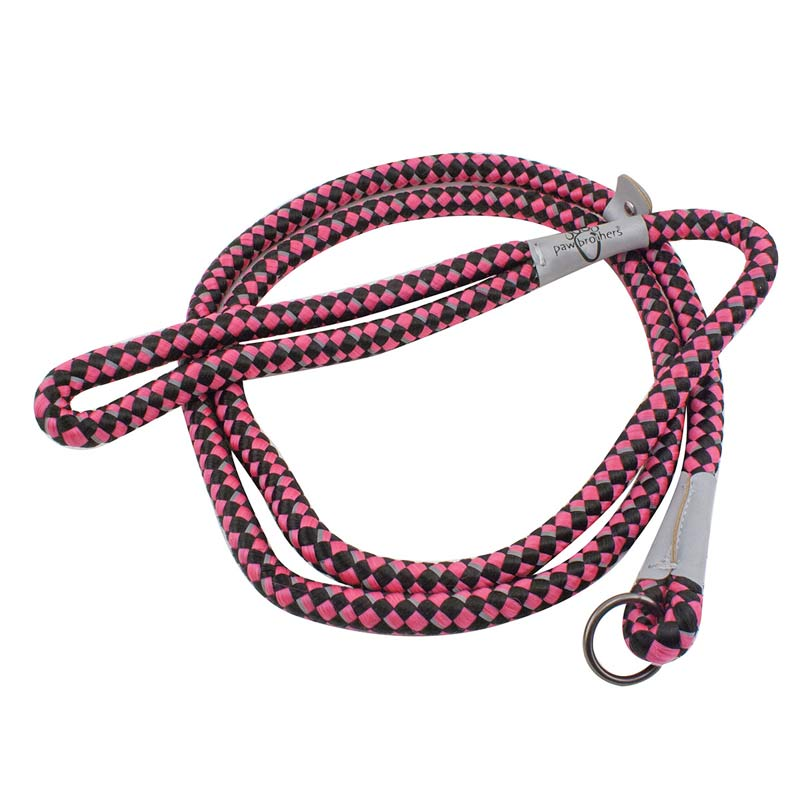 Paw Brothers Hot Pink & Black 6 foot Reflective Rope Slip Lead for Dogs
