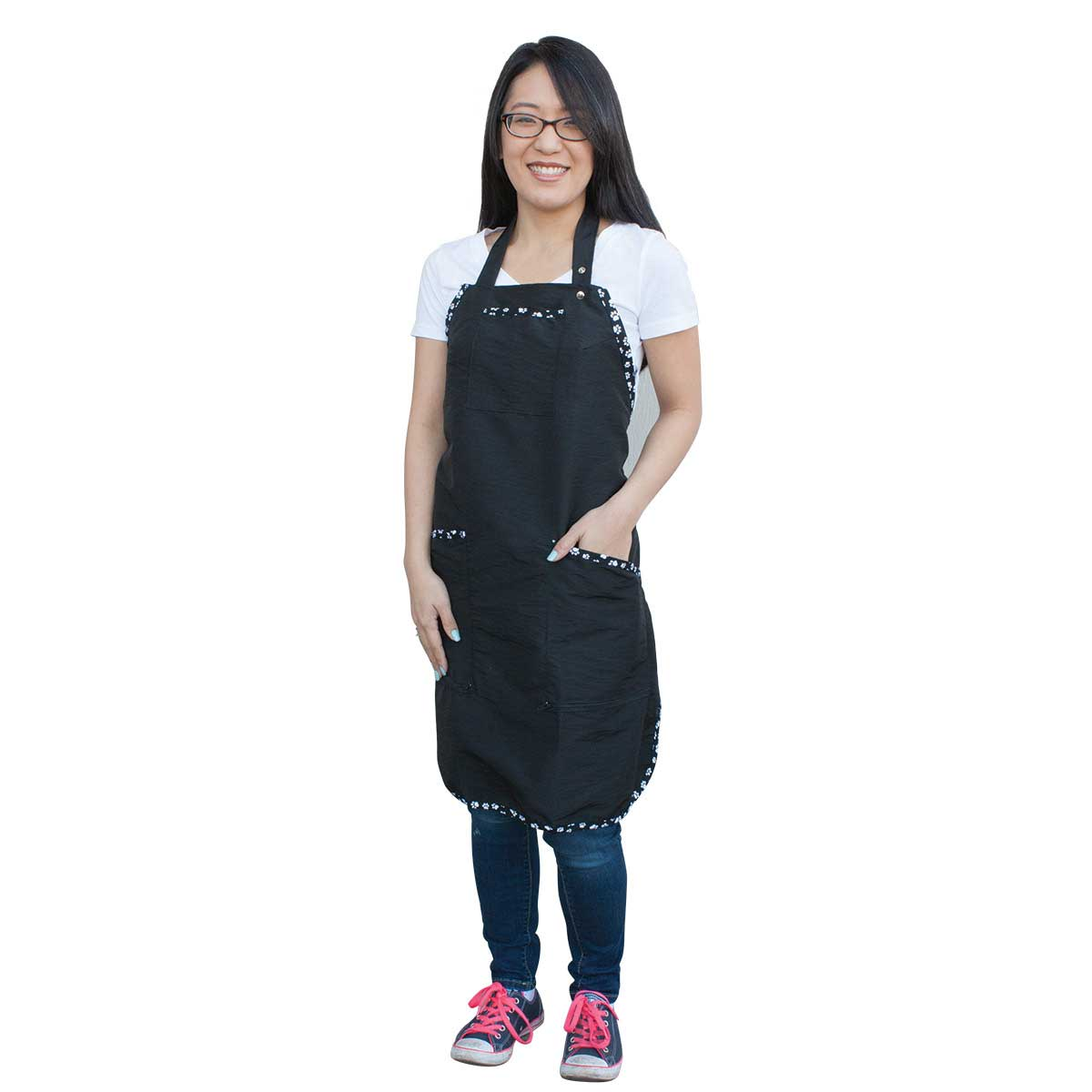 Paw Brothers Black Apron with White Paw Print Trim