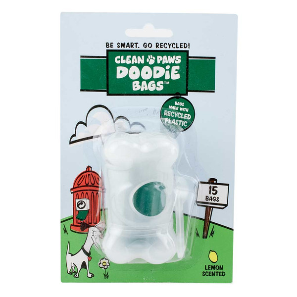 In packaging, Clean Paws Recycled Plastic Doodie Bags with Dispenser 15 ct Lemon Scent